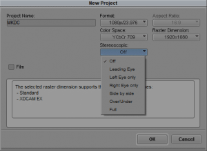 Creation of a stereoscopic project inside Media Composer 6